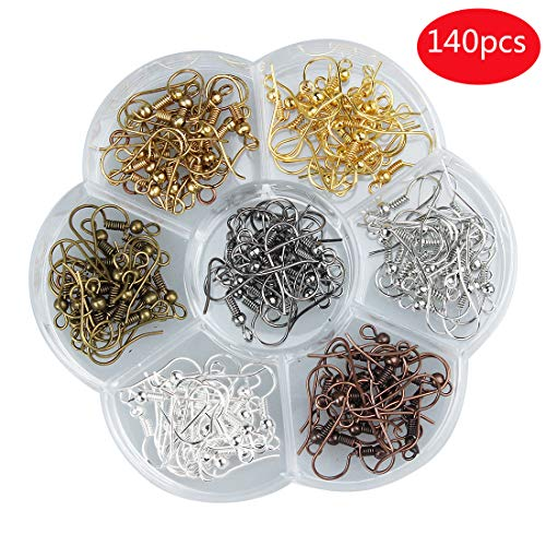 Tiparts Fish Hook Ear Wires,140 Pieces Alloy Fish Earring Hooks Surgical Steel Hypo Allergenic Mixed Colors with Transparent Box, 7 -