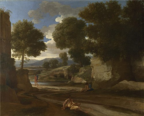 Oil Painting 'Nicolas Poussin Landscape With Travellers Resting' 12 x 15 inch / 30 x 38 cm , on High Definition HD canvas prints is for Gifts And Bar, Laundry Room And Powder Room Decoration - Classic Cross Pressure Balance