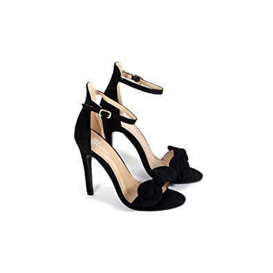 2df561d7ad Amazon.com | Onlineshoe Bow Detailed Stiletto Sandal - Ankle Strap - Black  Suede, White PU, Pink Suede | Heeled Sandals