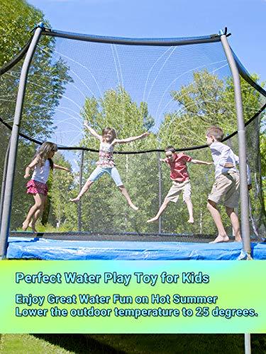 SHARKOOL Trampoline Sprinkler Trampoline Water Sprinkler Summer Toys Water Games Fun for Kids Outside, Sprinklers Backyard Water Park Trampoline Accessories 39.4 ft, Outdoor Water Toys for Kids
