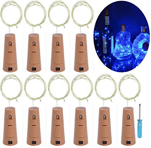 LRCXL Set of 10 Wine Bottle Cork Lights - 18inch/ 47cm 10 LED Silver Wire Lights String Starry LED Lights for Bottle DIY, Halloween Party, Christmas, Wedding Decoration (Blue)
