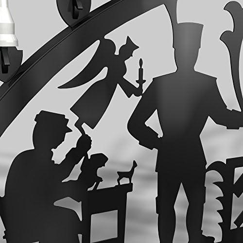 Colours-Manufaktur Außenschwibbogen Schwibbogen Lichterbogen Metall - Motiv: Schwarzenberg - XXL 1,5 Meter Breite Außen-Bereich schwarz glänzend * riesen groß * Erzgebirge Bergmann Bergmänner