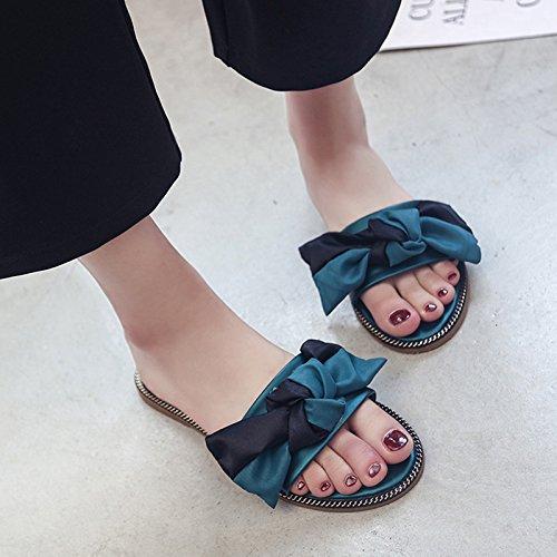 GAOLIM Cool Zapatillas Primavera Y Verano Mujer Pajarita, Vistiendo Antideslizante Y Versátil Y Tv Plana Zapatos De Mujer El verde