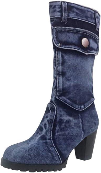 Womens Mid Boots Chunky Heels Side Zipper Retro Denim Buckle Shoes Mid Calf Boot