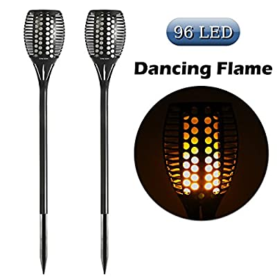 CINOTON Solar Light,Path Torches Dancing Flame Lighting 96 LED Dusk to Dawn Flickering Tiki Torches Outdoor Waterproof garden decorations