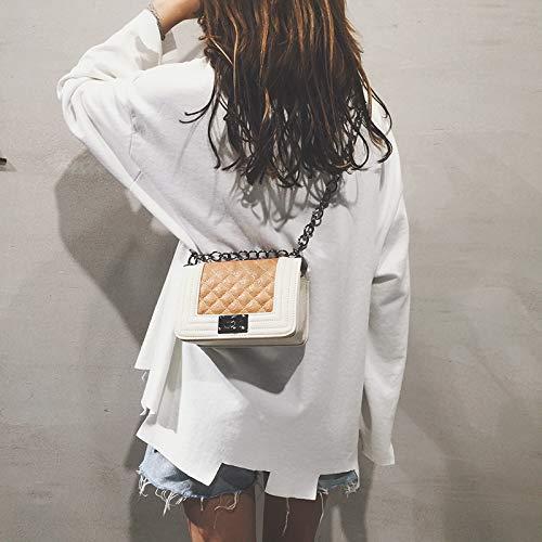 de Contraste Bolso Tendencia Bolsa gelatina Mujer de Retro de Cuadrada láser Color Transparente Bolsa Carta pequeña Costura Lentejuela Paquete impresión HSHZ4nvr
