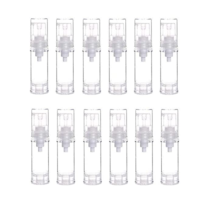 12Pcs Portable Empty Refillable Clear Plastic Airless Vacuum Pump Bottle Cosmetic Make-up Cream Lotion Sample Packing Toiletries Liquid Storage Container Vial Jars(5ml/0.17oz)