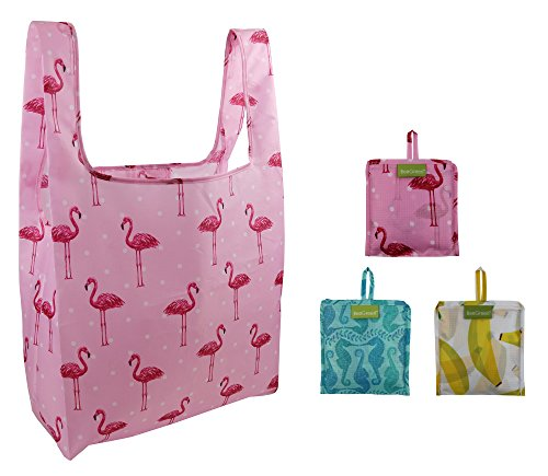 BeeGreen Reusable Grocery Bags for Women and Girls 3 Pack, Foldable into Attached Pouch, Waterproof Ripstop Polyester, Washable,Durable and (Cute Halloween Print Outs)