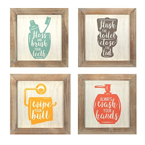 Stratton Home Decor S07752 Floss Flush Wipe Wash Wall Art (Set of 4), Multicolor