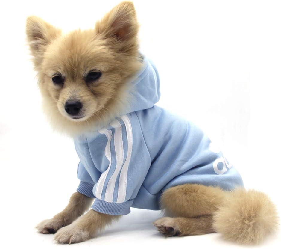 QiCheng&LYS Adidog Dog Hoodie Ropa, Mascota Cachorro Gato algodón Lindo cálido Sudadera con Capucha suéter (XS, Azul)