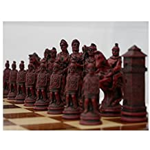 Roman Theme Chess Pieces Ivory and Red by Berkley