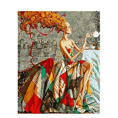 KYKDY Gerahmtes Bild Schönheit Dame DIY Malen nach Zahlen Bunte Bild Home Decor für Wohnzimmer Hand Einzigartige Geschenke GX9353, kein Rahmen 40x50 cm, HUABI B07PGPQR6X   Mittel Preis