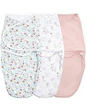 aden + anais essentials Enkel swaddle wrap, bomullstickad babysjal, bärbar sovsäck för nyfödda, 0-3 månader, 1,0 TOG, 3-pack, sagoblommor