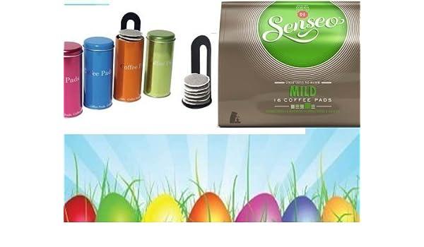Senseo suave 16 almohadillas para Senseo y otros cafeteras Oster acción + metálico 4 latas con Pad Padheber: Amazon.es: Juguetes y juegos