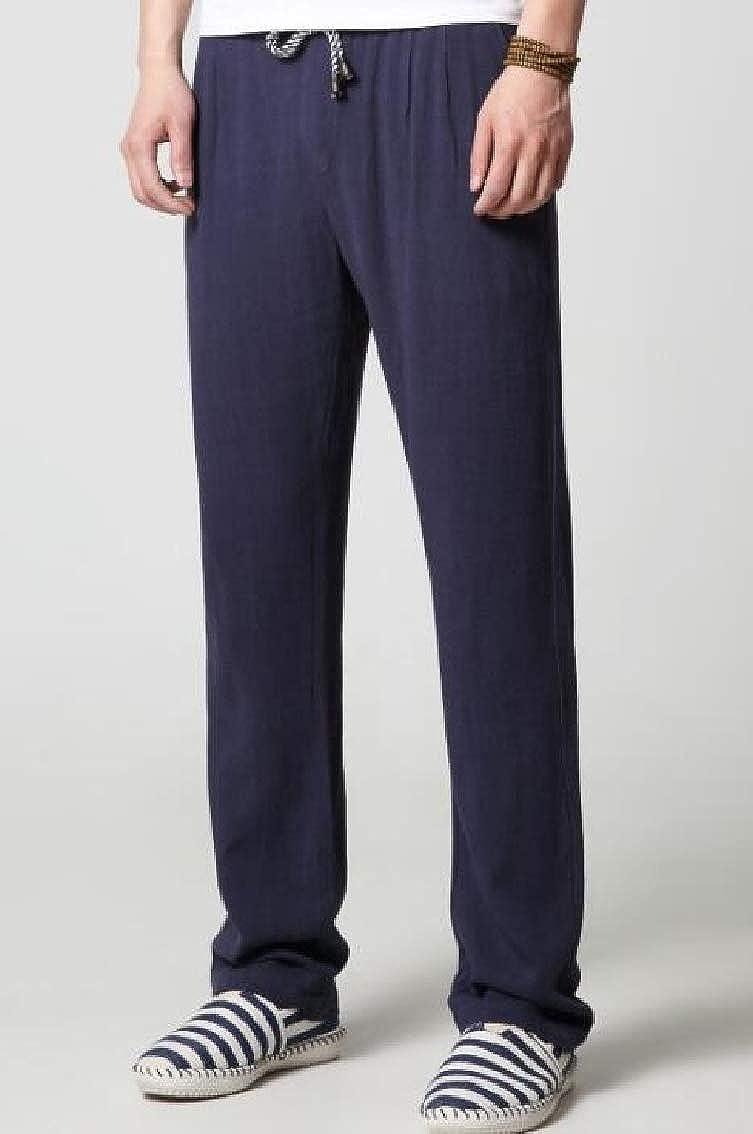 WAWAYA Men Elastic Waist Casual Linen Straight Chinese Style Long Pants