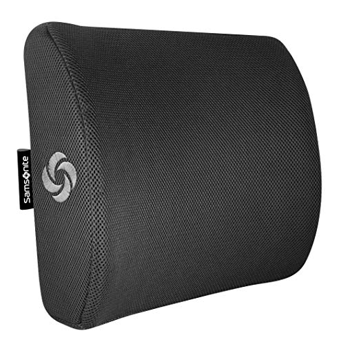 Samsonite Lumbar Support Pillow, Premium Grade Memory Foam, Designed for Lower Back Pain Relief, Ventilated Mesh for Natural Cooling, Fits Most Vehicles, Improves Posture, Washable Cover, Black