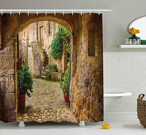 (Scenery Decor Shower Curtain by Ambesonne, Landscape from another Door Antique Stone Village Tuscany Italian Valley, Fabric Bathroom Decor Set with Hooks, 70 Inches, Multicolor )