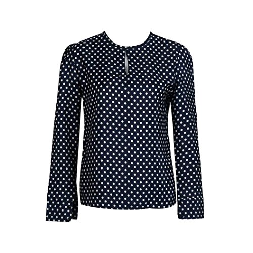 Keepfit Casual Blouses Polka Dots, Chiffon Long Sleeve Shirt Clothing Tops