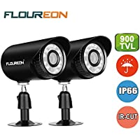 Floureon 2 Packs 900TVL CCTV Security Bullet DVR Extra Camera 4mm Lens 24 Infrared Leds Camera with 15M Night Vision IP66 Waterproof Outdoor Compatiable With CCTV Security System