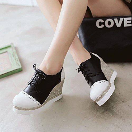 Mee Shoes Damen Keilabsatz Plateau Schnürhalbschuhe Weiß
