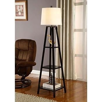 Artiva USA Elliot, Modern Design, 63-Inch Java-Black Finish 3-Tier Wood Display Shelf Floor Lamp in 1-Piece Sturdy Construction