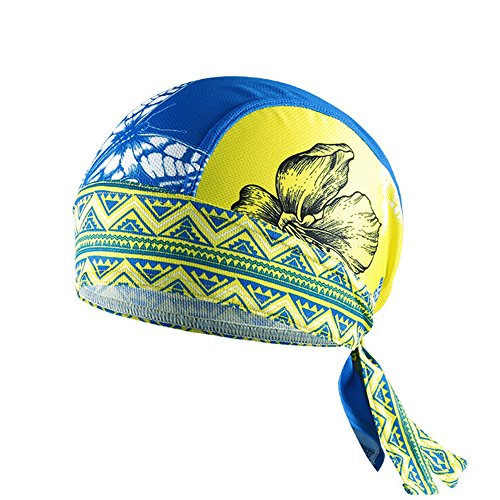 Ezyoutdoor Unisex Outdoor Bicycle Sport Hats Bike Cycling Cap Headscarf Ride Equipment Riding Bandana Pirate Scarf Headband (Yellow Butterfly)