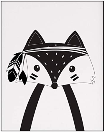 Dessin Anime Noir Et Blanc Renard Toile Art Image Style Nordique