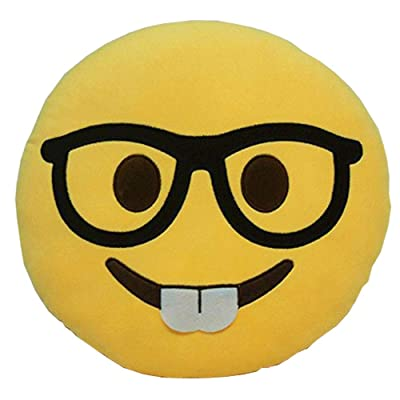 GCA Soft Emoji Smiley Emoticon Yellow Round Cushion Pillow Stuffed Plush Toy Doll (Nerd FACE): Home & Kitchen