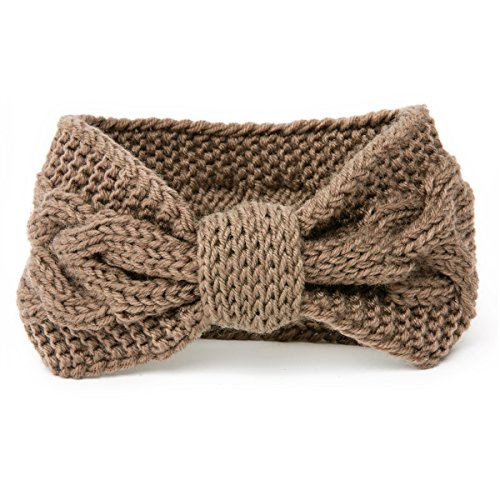 (NISHAER Women's Wide Chunky Cable Knitted Turban Headband,Brown,One size )