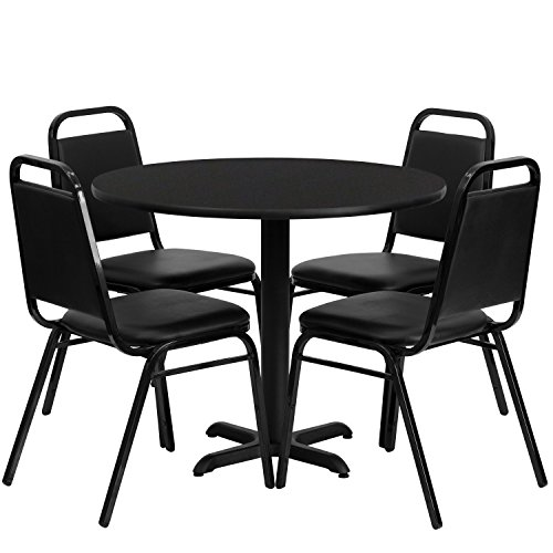 flash furniture round black laminate table set with 4 black trapezoidal back banquet chairs