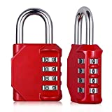 Combination Padlock Outdoor Locker Lock Master Locks 4 Digit Number Password Rust Weather Proof for Gym Gate Fence School Combo ( Red, Pack of 2 )