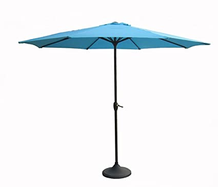 9u0027 Outdoor Patio Market Umbrella With Hand Crank And Tilt   Turquoise Teal