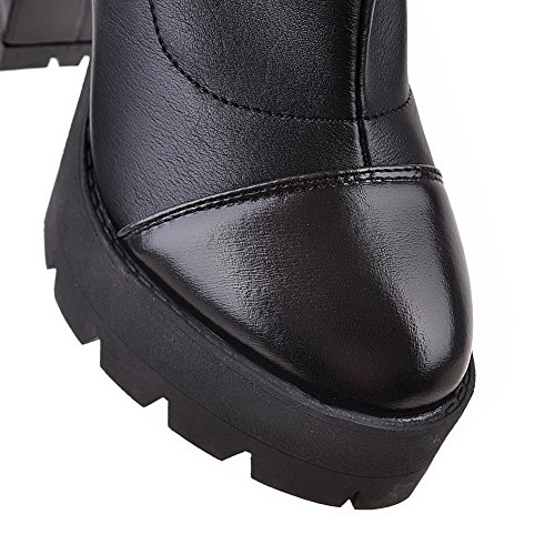 Allhqfashion Women's High Heels High Top Solid Pull On Boots Black 2LgJs5x
