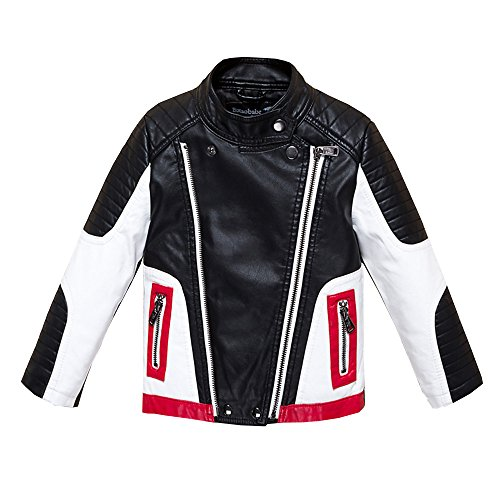 Budermmy Boys Leather Motorcycle Pilot Jackets Toddler Coats Black Size 11 by Budermmy (Image #1)