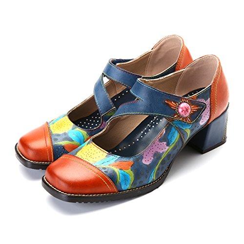 sports shoes f22ef 3648e Pompe Di Cuoio Gracosy, Delle Donne Sandali Con Zeppa Mary Jane Partito Scarpe  Da Sposa ...