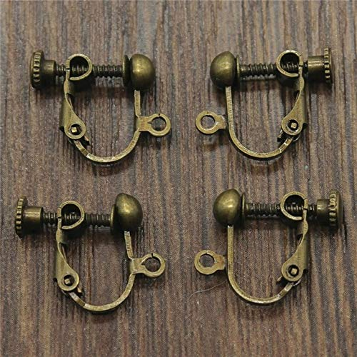 Laliva Accessories - 10pcs 7 Colors 14x17mm Ear Clip Accessories Rotate Screws Earring Clip Connector for DIY Jewelry Making - (Color: Antique Bronze)