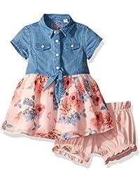 GUESS Girls' Ss Denim and Floral Chiffon Dress W/ Diaper...