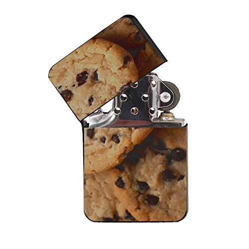(Chocolate Chip Cookies - Black Lighter Windproof Flip-Top Refillable with tin Gift Box)