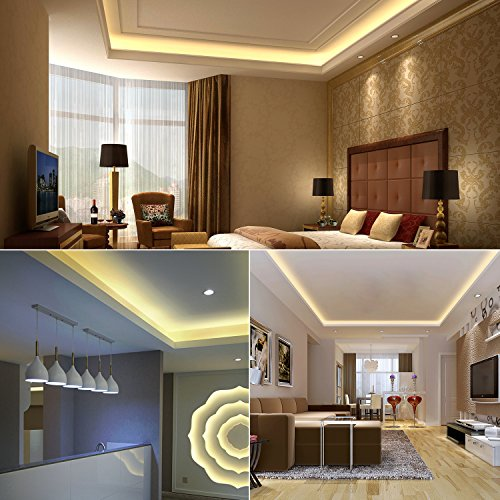GuoTonG Dimmable LED Light Strip Kit with UL Listed Power Supply, 300 Units SMD 2835 LEDs, 16.4ft/5m 12V DC Non-waterproof, LED Ribbon, DIY indoor Kitchen Bar Celebration Decoration, 3000k Warm White