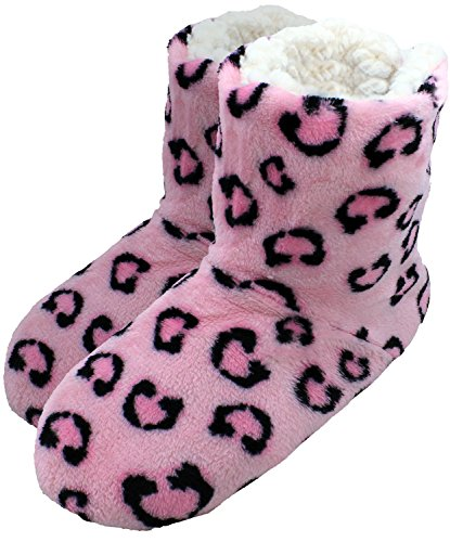 enimay-womens-slipper-boots-lounge-house-relaxed-shoes-pink-animal-small-medium