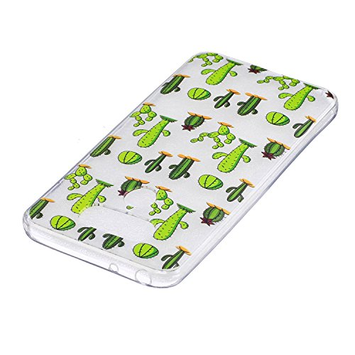 LG G6 Hülle, Hozor Niedlich Persönlichkeit Mode Serie Ultra Dünn TPU Bumper Case Kratzfest Backcover Schutzhülle Transparent Schale Flexible Weiche Silikonhülle Crystal Klar Handyhülle - Grüne Blätter Kleiner Kaktus