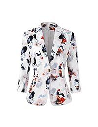 Womens 3/4 Sleeve Lightweight Office Work Suit Jacket Boyfriend Blazer