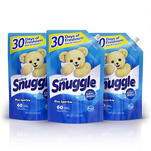 Snuggle Liquid Fabric Softener Easy-Pouch, Blue Sparkle, 48 Ounce, 3 Count, 180 Total Loads