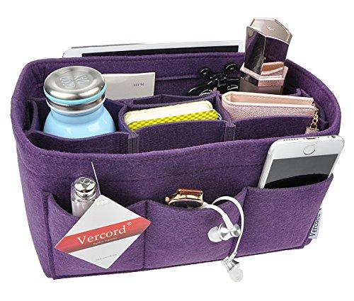 Felt Purse Organizer,4 Size Multicolor Durable Insert Handbag Shaper 12 Pockets (S, Purple) - Small Bag Organizer