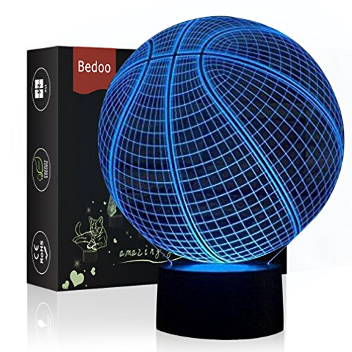 LED Night Light 3D Illusion Bedside Table Lamp 7 Colors Changing Sleeping Lighting with Smart Touch Button Cute Gift Warming Present Creative Decoration Ideal Art and Crafts (Basketball) by Echodream