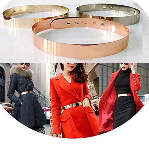 Fashion Women Adjustable Metal Waist Belt Metallic Bling Gold Silver Color Plate Vintage Lady Simple Belt