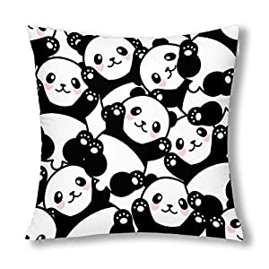 InterestPrint Cute Happy Panda Funny Animal Decor Throw Pillow Case Cushion Covers, Decorative Zippered Pillowcase Protector, 18x18 Inch