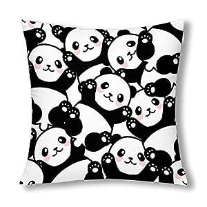InterestPrint Cute Happy Panda Funny Animal Decor Throw Pillow Case Cushion Covers, Decorative Zippered Pillowcase Protector, 18x18 Inch