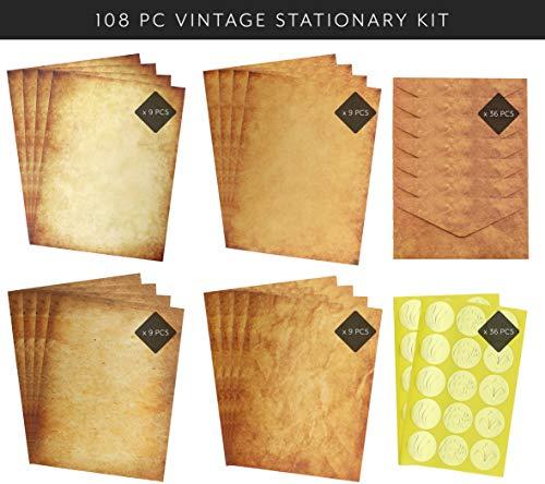 Vintage Antique Design Aged Stationery Set, 108-Piece Old Style Set with Envelopes and Seals, Printer Compatible ()