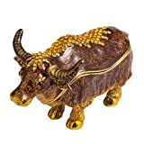 QIFU-Hand Painted Enameled Bull Style Decorative Hinged Jewelry Trinket Box Unique Gift for Home Decor